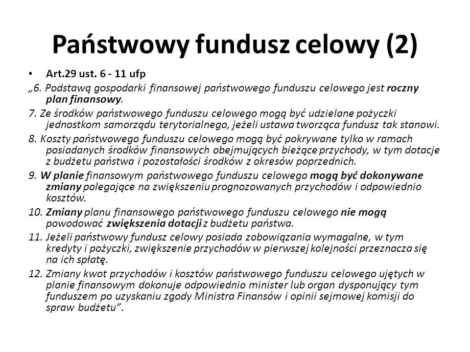 Państwowy fundusz celowy (2) Art.29 ust. 6 - 11 ufp 6. Podstawą gospodarki finansowej państwowego funduszu celowego jest roczny plan finansowy. 7. Ze