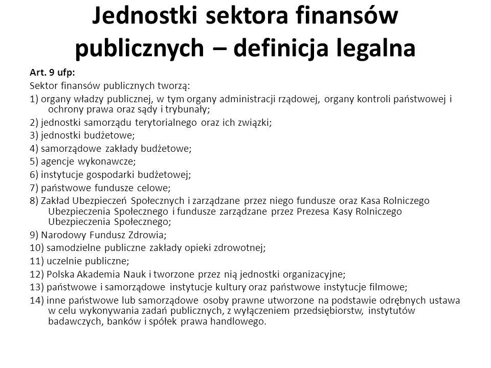 Jednostki sektora finansów publicznych – definicja legalna Art. 9 ufp: Sektor finansów publicznych tworzą: 1) organy władzy publicznej, w tym organy a