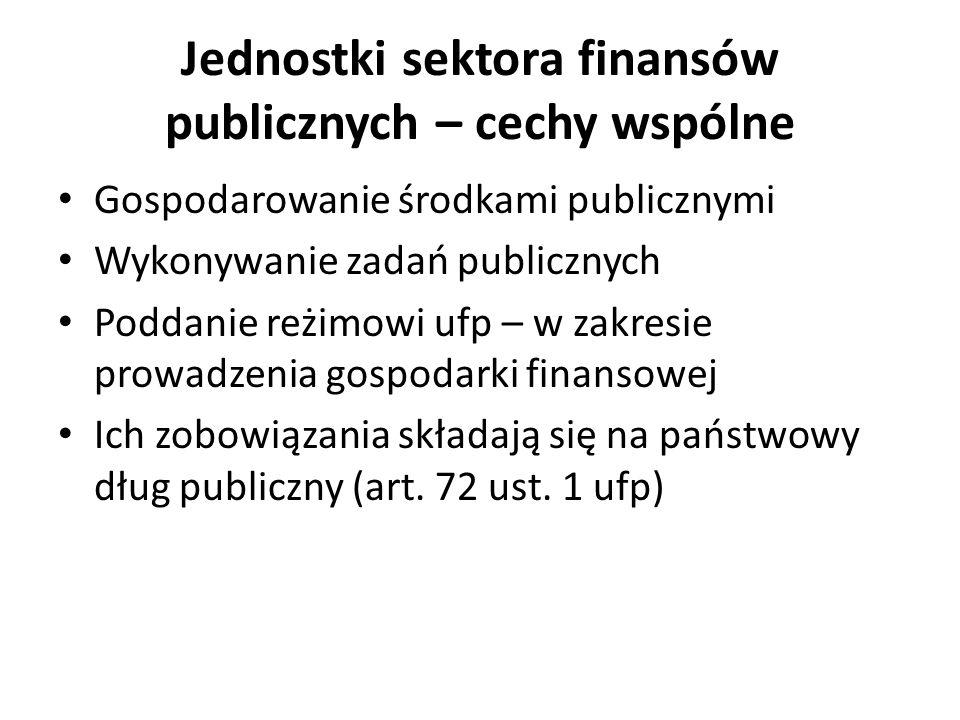 Jednostki sektora finansów publicznych – cechy wspólne Gospodarowanie środkami publicznymi Wykonywanie zadań publicznych Poddanie reżimowi ufp – w zak