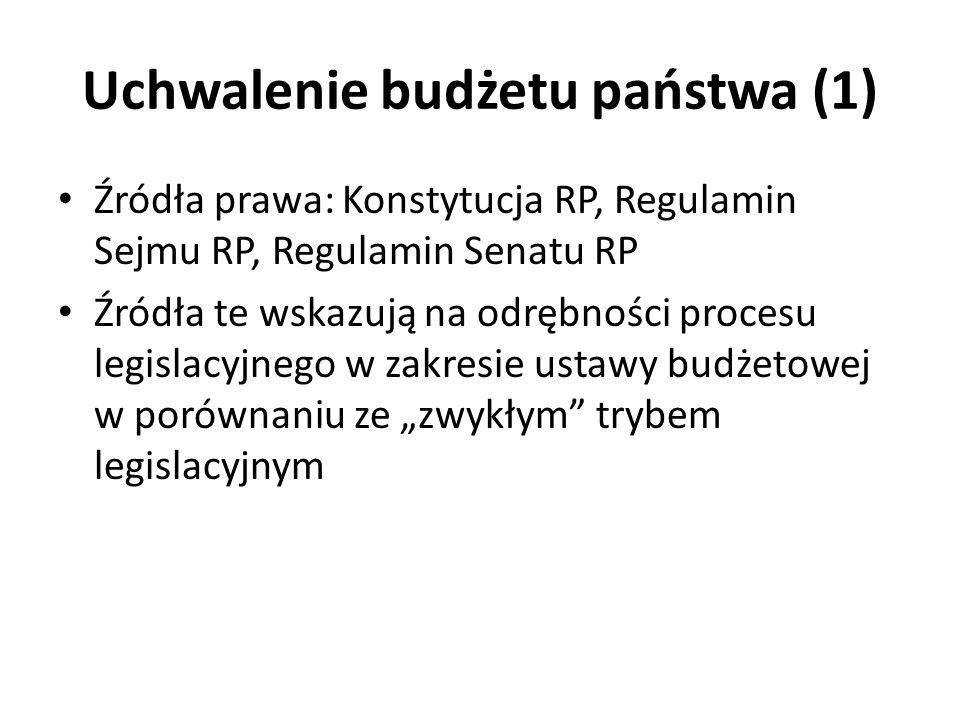 Uchwalenie budżetu państwa (1) Źródła prawa: Konstytucja RP, Regulamin Sejmu RP, Regulamin Senatu RP Źródła te wskazują na odrębności procesu legislac