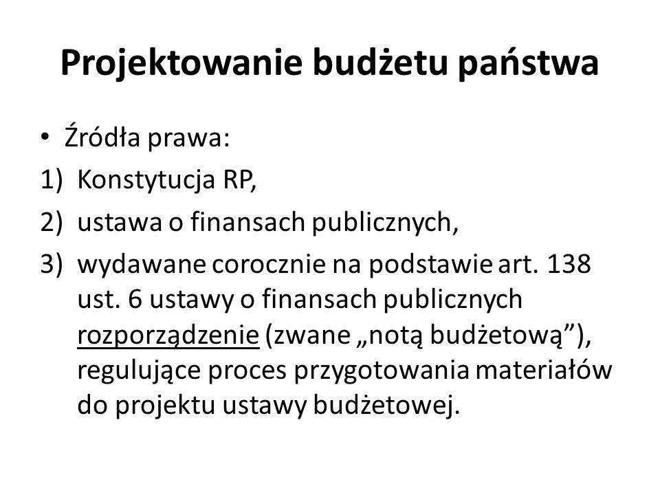 Projektowanie budżetu państwa Źródła prawa: 1)Konstytucja RP, 2)ustawa o finansach publicznych, 3)wydawane corocznie na podstawie art. 138 ust. 6 usta