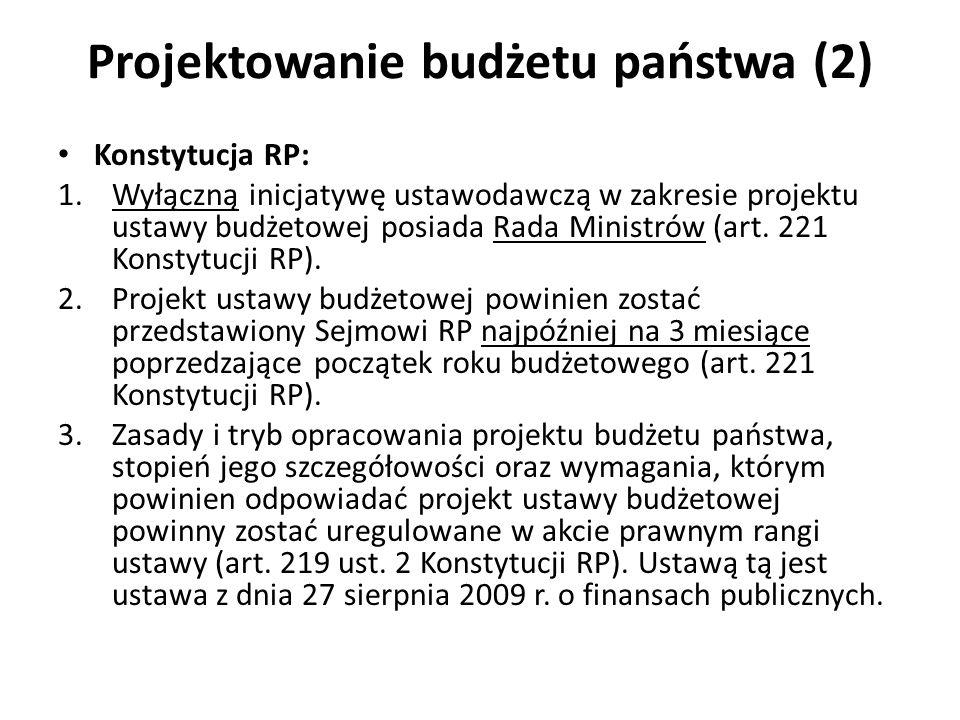 Projektowanie budżetu państwa (2) Konstytucja RP: 1.Wyłączną inicjatywę ustawodawczą w zakresie projektu ustawy budżetowej posiada Rada Ministrów (art