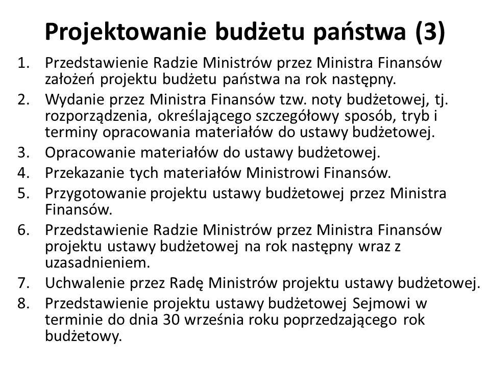 Projektowanie budżetu państwa (3) 1.Przedstawienie Radzie Ministrów przez Ministra Finansów założeń projektu budżetu państwa na rok następny. 2.Wydani