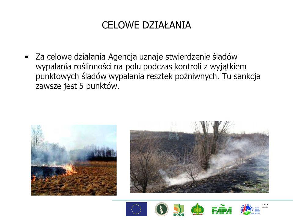 22 CELOWE DZIAŁANIA Za celowe działania Agencja uznaje stwierdzenie śladów wypalania roślinności na polu podczas kontroli z wyjątkiem punktowych śladó