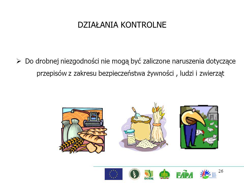 26 DZIAŁANIA KONTROLNE Do drobnej niezgodności nie mogą być zaliczone naruszenia dotyczące przepisów z zakresu bezpieczeństwa żywności, ludzi i zwierz