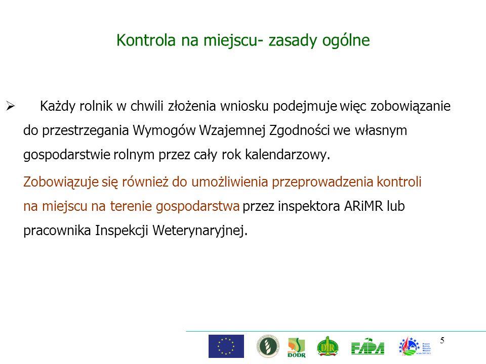 Kontrola na miejscu- zasady ogólne Każdy rolnik w chwili złożenia wniosku podejmuje więc zobowiązanie do przestrzegania Wymogów Wzajemnej Zgodności we