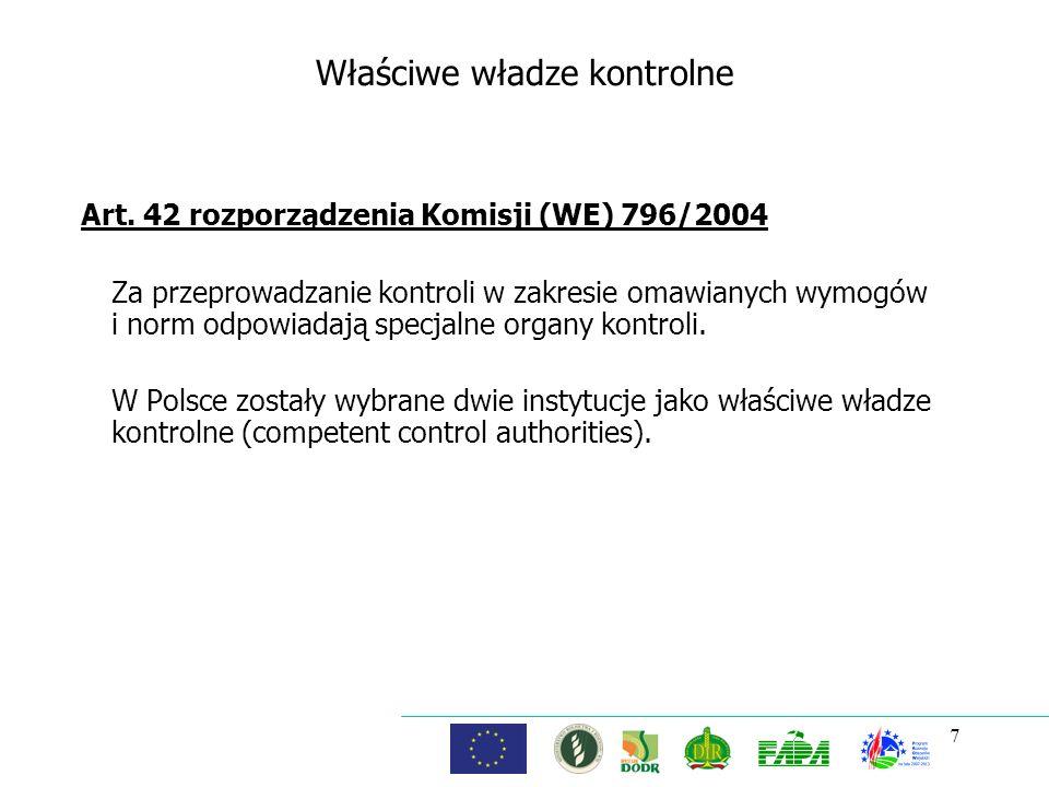 Właściwe władze kontrolne Art. 42 rozporządzenia Komisji (WE) 796/2004 Za przeprowadzanie kontroli w zakresie omawianych wymogów i norm odpowiadają sp