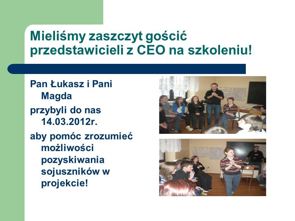 Mieliśmy zaszczyt gościć przedstawicieli z CEO na szkoleniu! Pan Łukasz i Pani Magda przybyli do nas 14.03.2012r. aby pomóc zrozumieć możliwości pozys