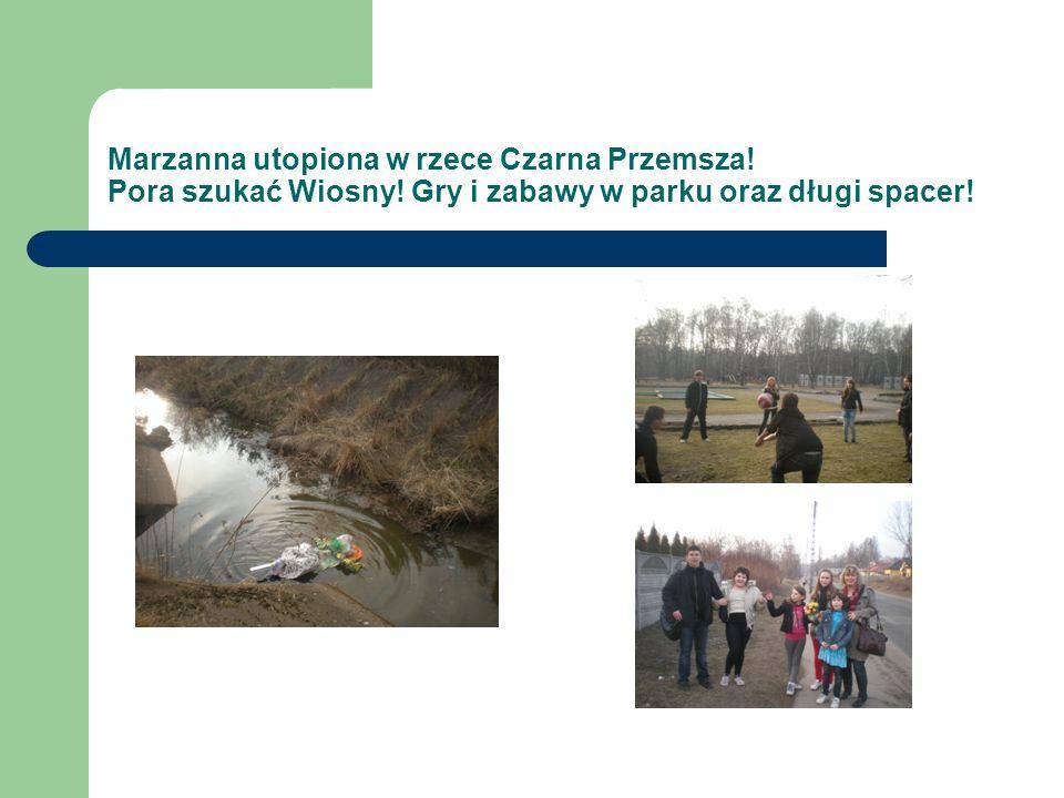 Marzanna utopiona w rzece Czarna Przemsza.Pora szukać Wiosny.