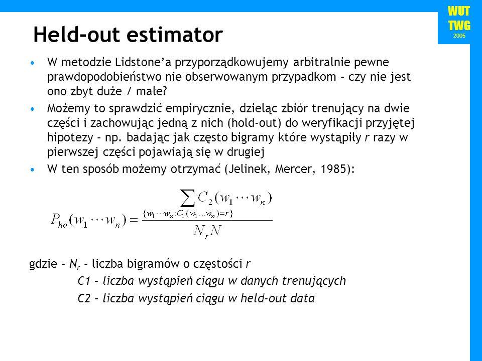WUT TWG 2005 Held-out estimator W metodzie Lidstonea przyporządkowujemy arbitralnie pewne prawdopodobieństwo nie obserwowanym przypadkom – czy nie jes