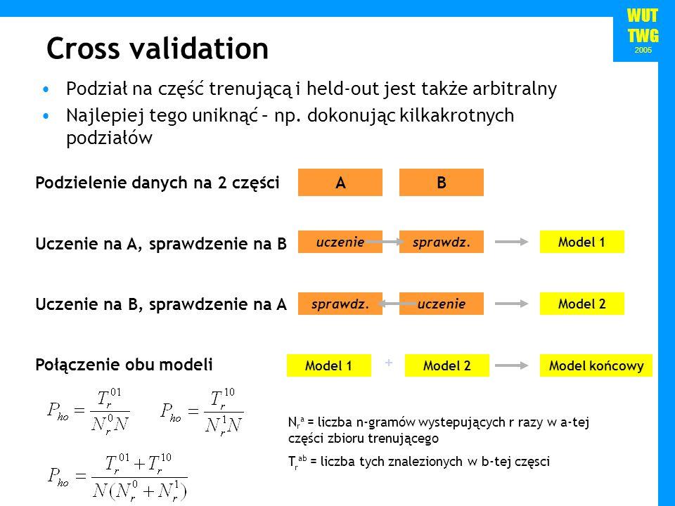 WUT TWG 2005 Cross validation Podział na część trenującą i held-out jest także arbitralny Najlepiej tego uniknąć – np. dokonując kilkakrotnych podział