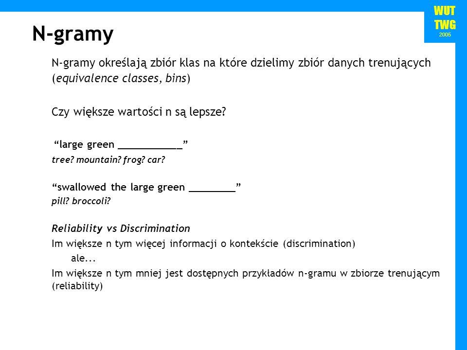 WUT TWG 2005 N-gramy N-gramy określają zbiór klas na które dzielimy zbiór danych trenujących (equivalence classes, bins) Czy większe wartości n są lep