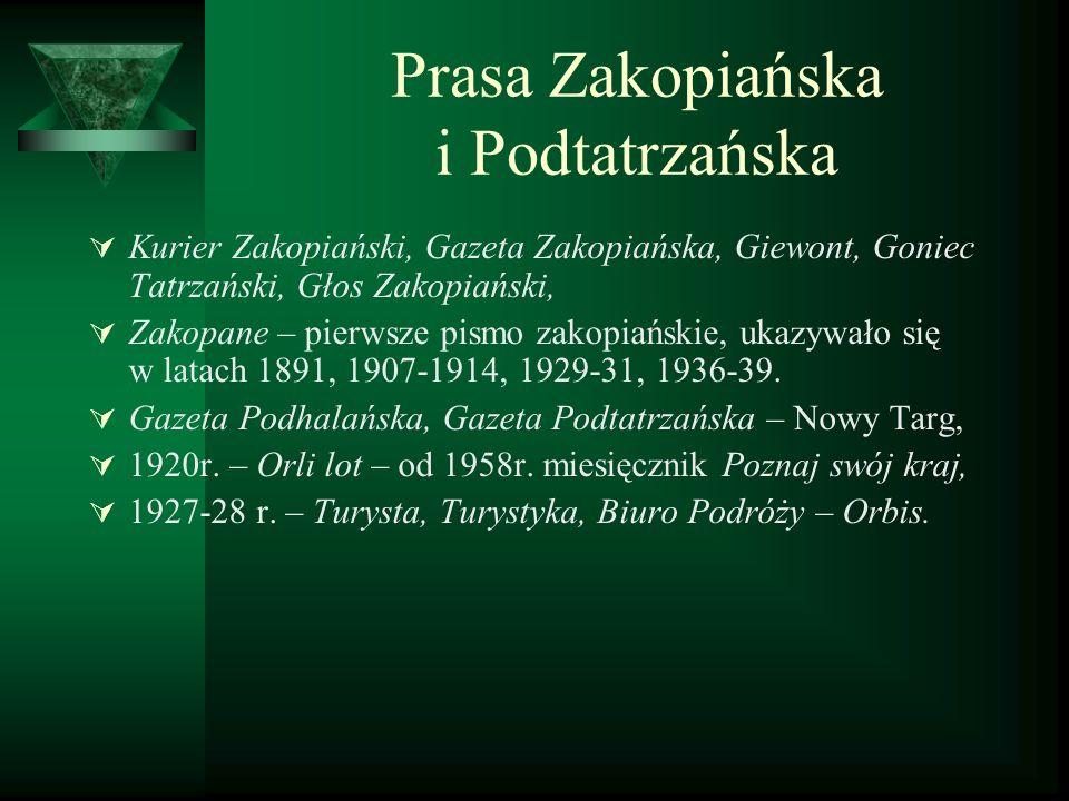 Prasa Zakopiańska i Podtatrzańska Kurier Zakopiański, Gazeta Zakopiańska, Giewont, Goniec Tatrzański, Głos Zakopiański, Zakopane – pierwsze pismo zako