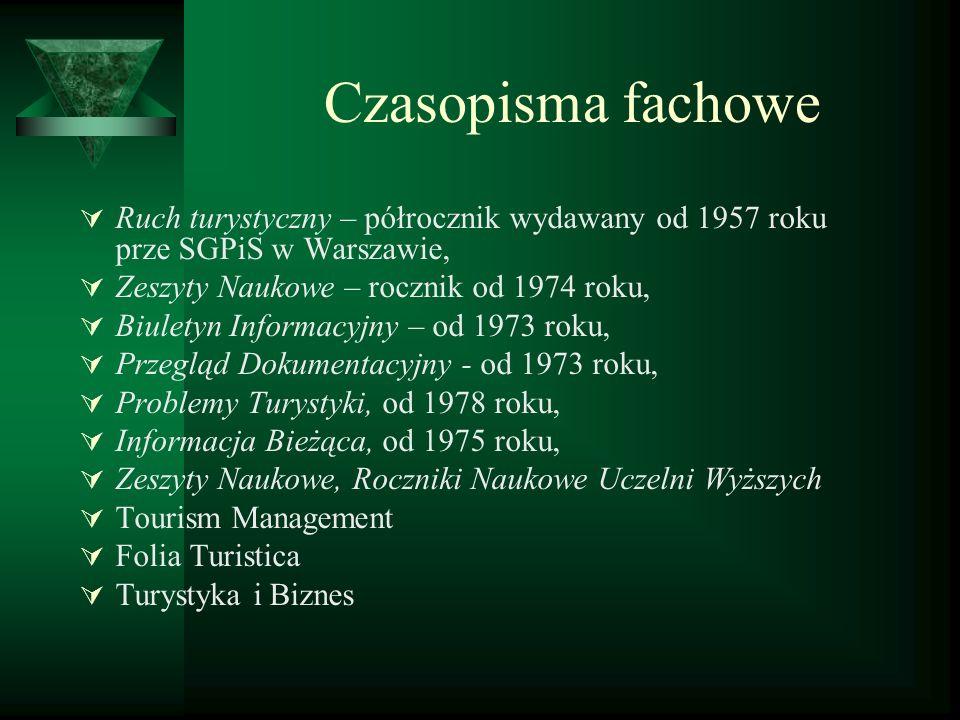 Czasopisma fachowe Ruch turystyczny – półrocznik wydawany od 1957 roku prze SGPiS w Warszawie, Zeszyty Naukowe – rocznik od 1974 roku, Biuletyn Inform