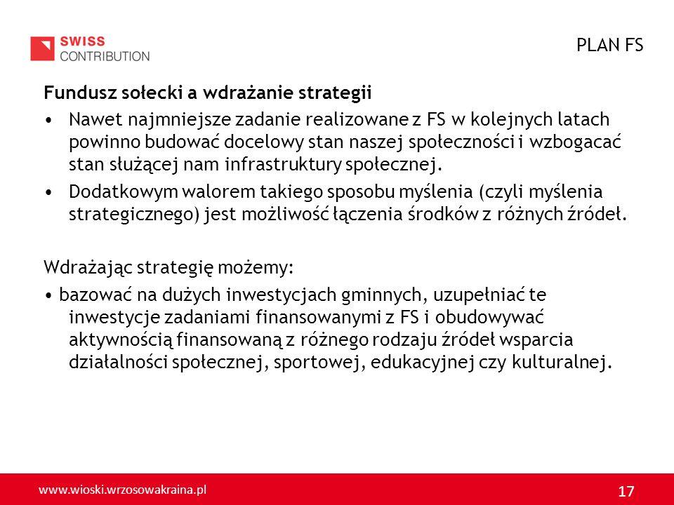 www.wioski.wrzosowakraina.pl 17 Fundusz sołecki a wdrażanie strategii Nawet najmniejsze zadanie realizowane z FS w kolejnych latach powinno budować do