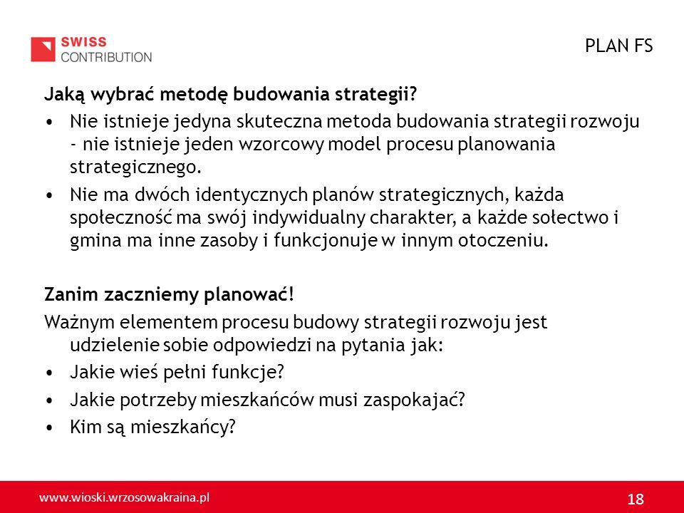 www.wioski.wrzosowakraina.pl 18 Jaką wybrać metodę budowania strategii? Nie istnieje jedyna skuteczna metoda budowania strategii rozwoju nie istnieje