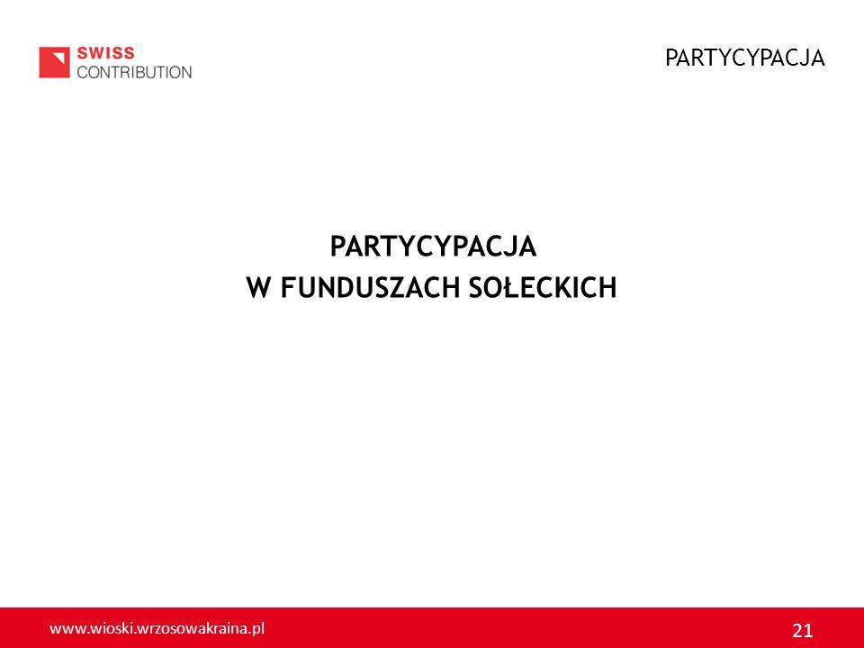 www.wioski.wrzosowakraina.pl 21 PARTYCYPACJA W FUNDUSZACH SOŁECKICH PARTYCYPACJA