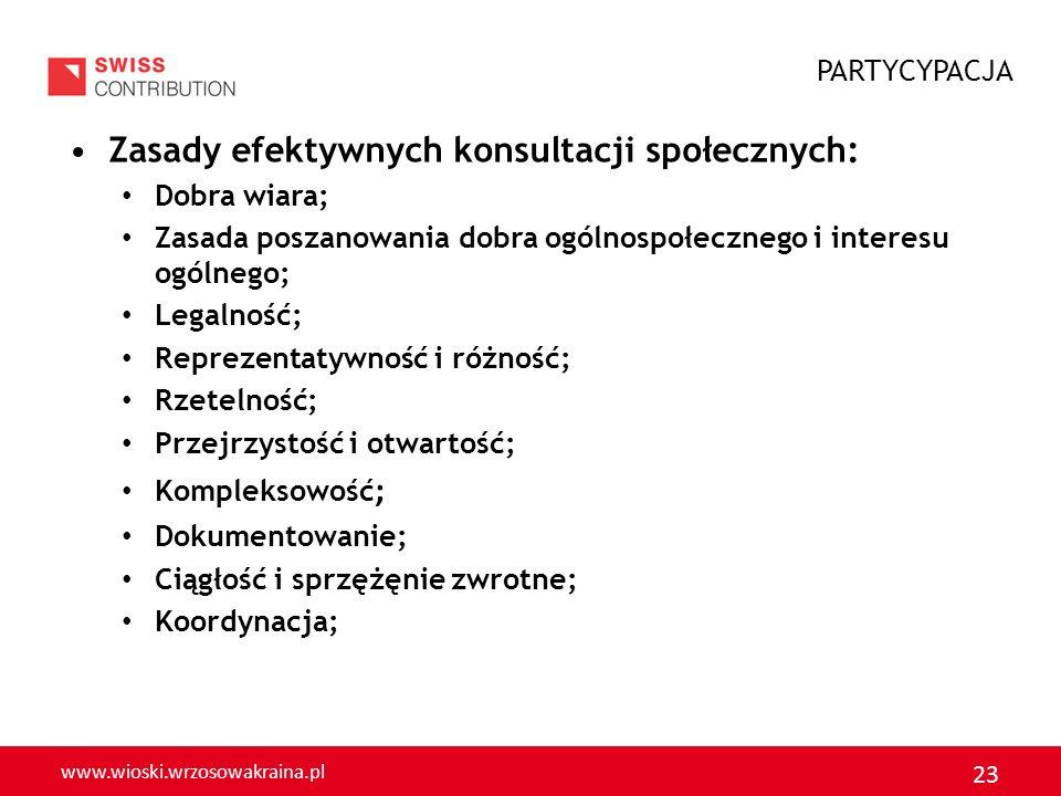 www.wioski.wrzosowakraina.pl 23 Zasady efektywnych konsultacji społecznych: Dobra wiara; Zasada poszanowania dobra ogólnospołecznego i interesu ogólne