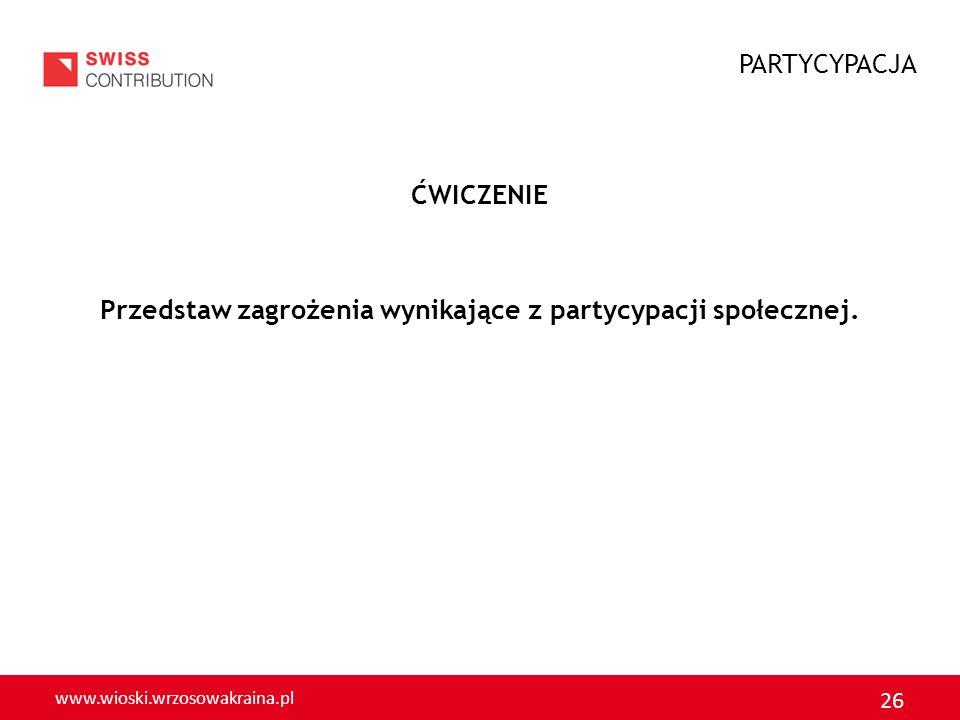 www.wioski.wrzosowakraina.pl 26 ĆWICZENIE Przedstaw zagrożenia wynikające z partycypacji społecznej. PARTYCYPACJA