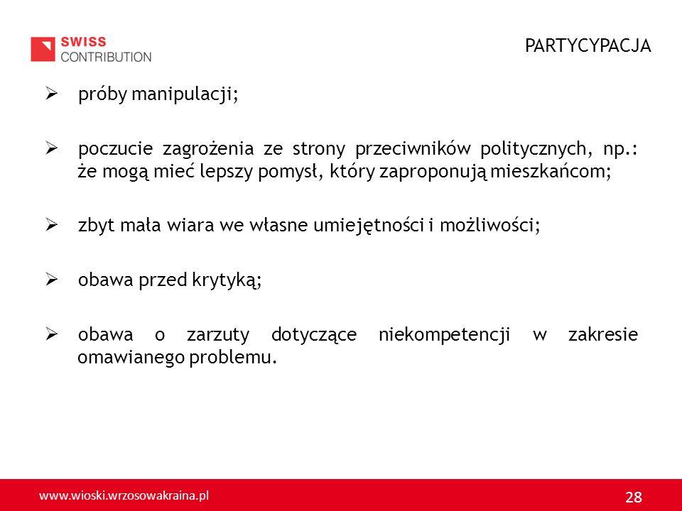 www.wioski.wrzosowakraina.pl 28 próby manipulacji; poczucie zagrożenia ze strony przeciwników politycznych, np.: że mogą mieć lepszy pomysł, który zap