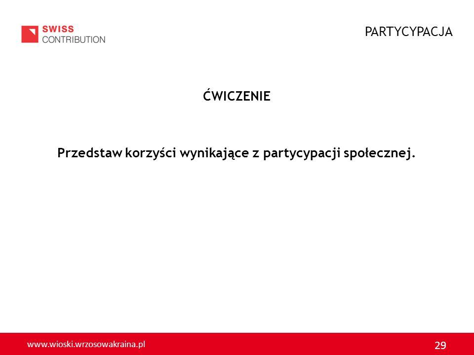 www.wioski.wrzosowakraina.pl 29 ĆWICZENIE Przedstaw korzyści wynikające z partycypacji społecznej. PARTYCYPACJA