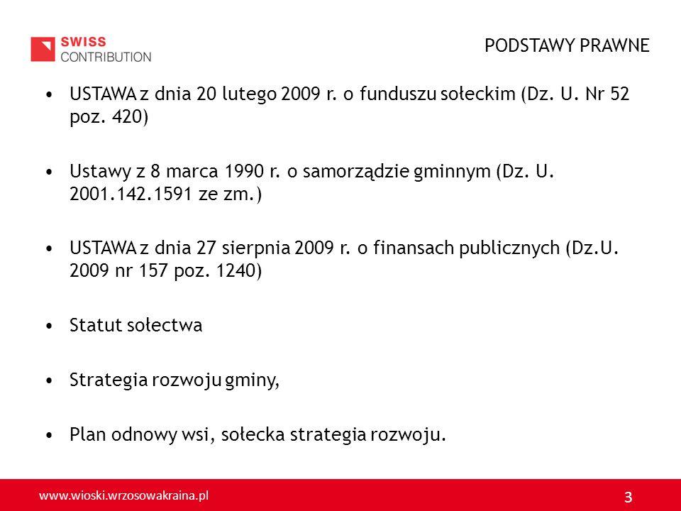 www.wioski.wrzosowakraina.pl 3 USTAWA z dnia 20 lutego 2009 r. o funduszu sołeckim (Dz. U. Nr 52 poz. 420) Ustawy z 8 marca 1990 r. o samorządzie gmin