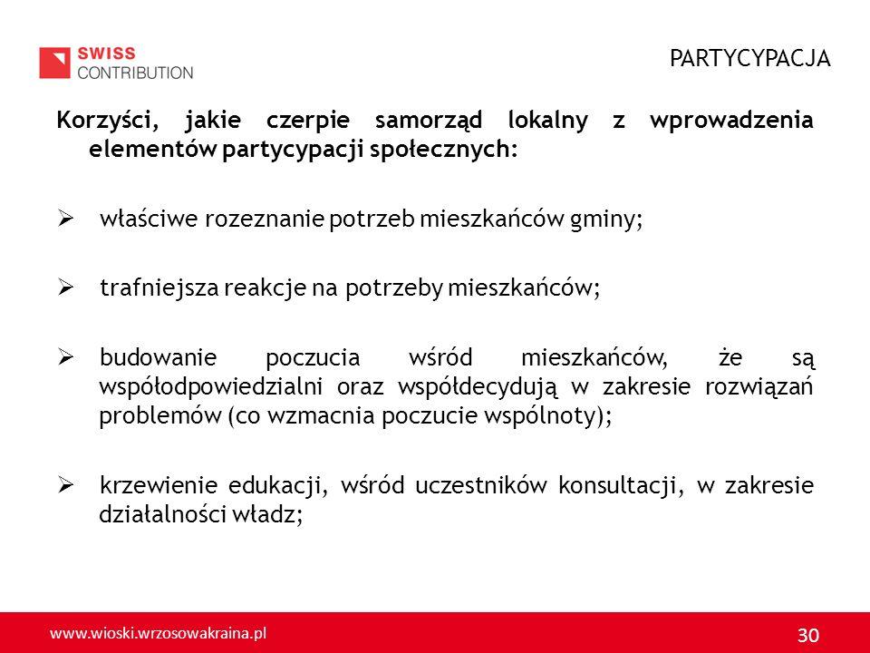 www.wioski.wrzosowakraina.pl 30 Korzyści, jakie czerpie samorząd lokalny z wprowadzenia elementów partycypacji społecznych: właściwe rozeznanie potrze