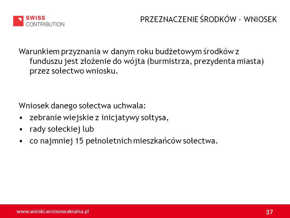www.wioski.wrzosowakraina.pl 37 Warunkiem przyznania w danym roku budżetowym środków z funduszu jest złożenie do wójta (burmistrza, prezydenta miasta)