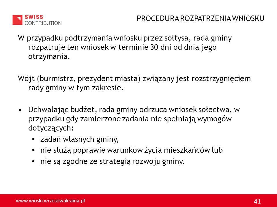 www.wioski.wrzosowakraina.pl 41 W przypadku podtrzymania wniosku przez sołtysa, rada gminy rozpatruje ten wniosek w terminie 30 dni od dnia jego otrzy