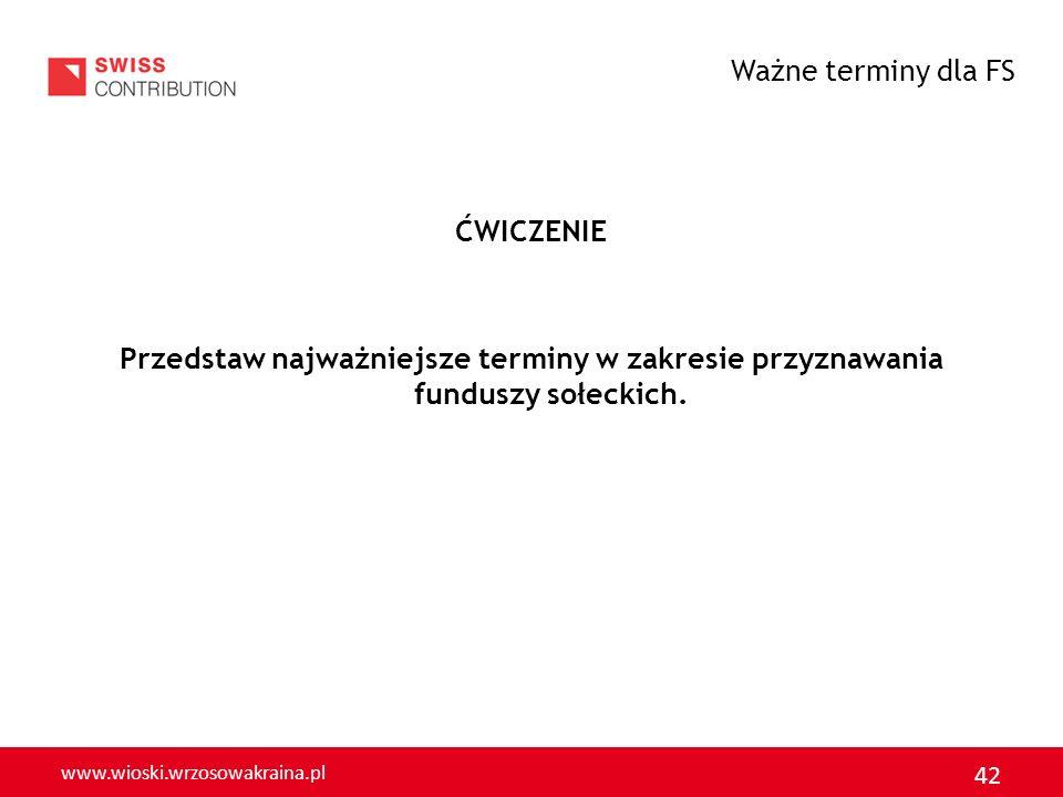 www.wioski.wrzosowakraina.pl 42 ĆWICZENIE Przedstaw najważniejsze terminy w zakresie przyznawania funduszy sołeckich. Ważne terminy dla FS