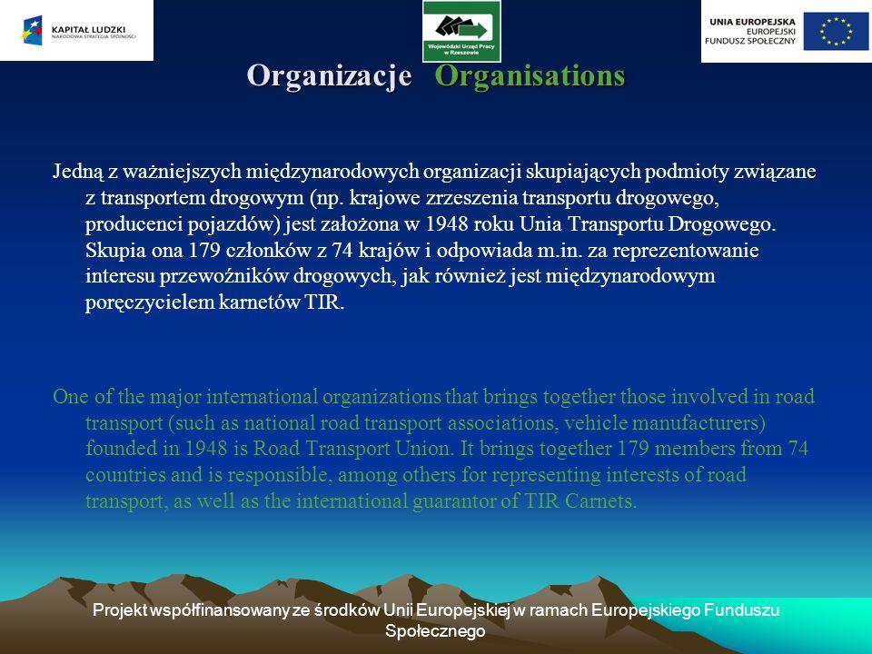 Projekt współfinansowany ze środków Unii Europejskiej w ramach Europejskiego Funduszu Społecznego Organizacje Organisations Jedną z ważniejszych międz