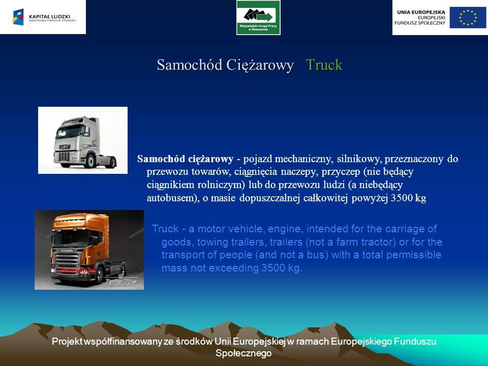 Projekt współfinansowany ze środków Unii Europejskiej w ramach Europejskiego Funduszu Społecznego Samochód Ciężarowy Truck Samochód Ciężarowy Truck Sa