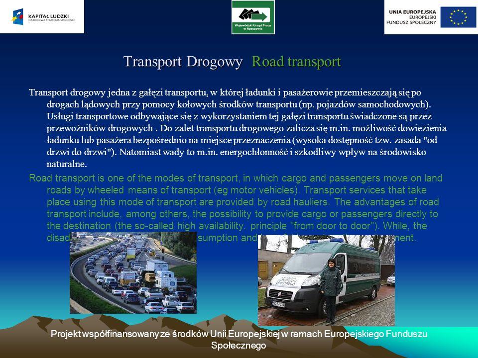 Projekt współfinansowany ze środków Unii Europejskiej w ramach Europejskiego Funduszu Społecznego Rola transportu samochodowego w Polsce The role of road transport in Poland Rola transportu samochodowego w Polsce The role of road transport in Poland Polska motoryzacja charakteryzuje się znacznym wzrostem.