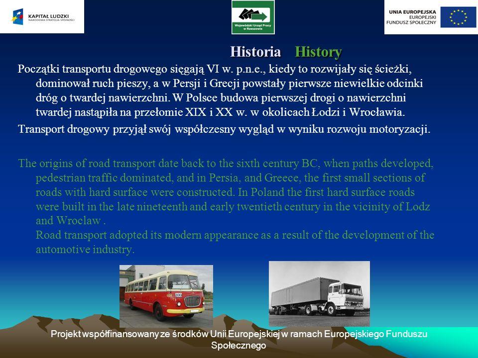 Projekt współfinansowany ze środków Unii Europejskiej w ramach Europejskiego Funduszu Społecznego Historia History Historia History Początki transport