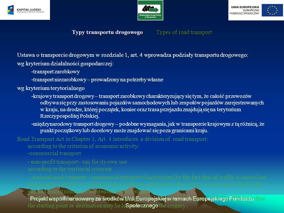 Projekt współfinansowany ze środków Unii Europejskiej w ramach Europejskiego Funduszu Społecznego Typy transportu drogowego Types of road transport Us