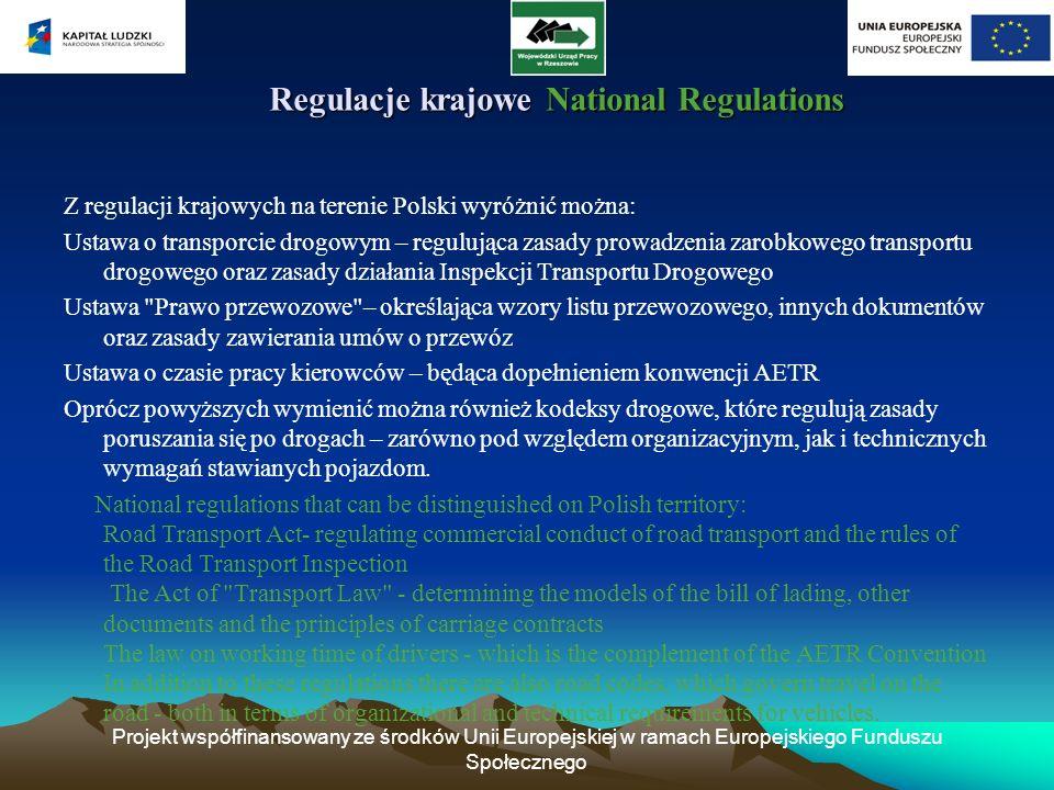 Projekt współfinansowany ze środków Unii Europejskiej w ramach Europejskiego Funduszu Społecznego Regulacje krajowe National Regulations Regulacje kra