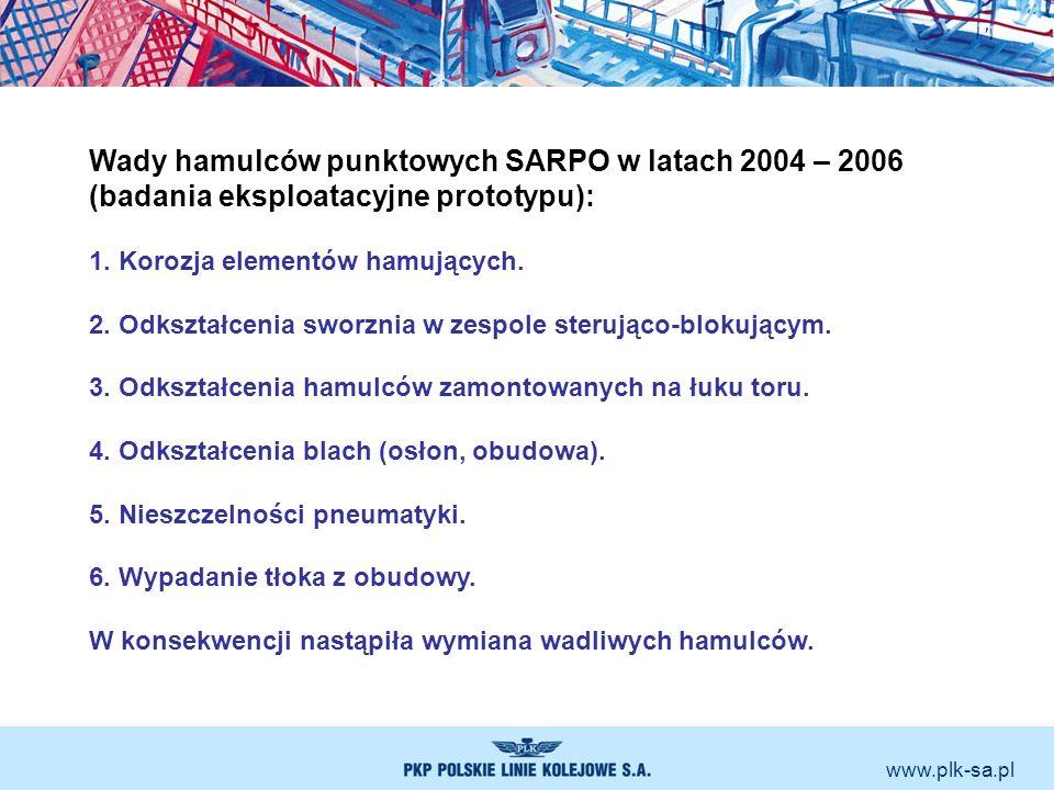 Wady hamulców punktowych SARPO w latach 2004 – 2006 (badania eksploatacyjne prototypu): 1. Korozja elementów hamujących. 2. Odkształcenia sworznia w z