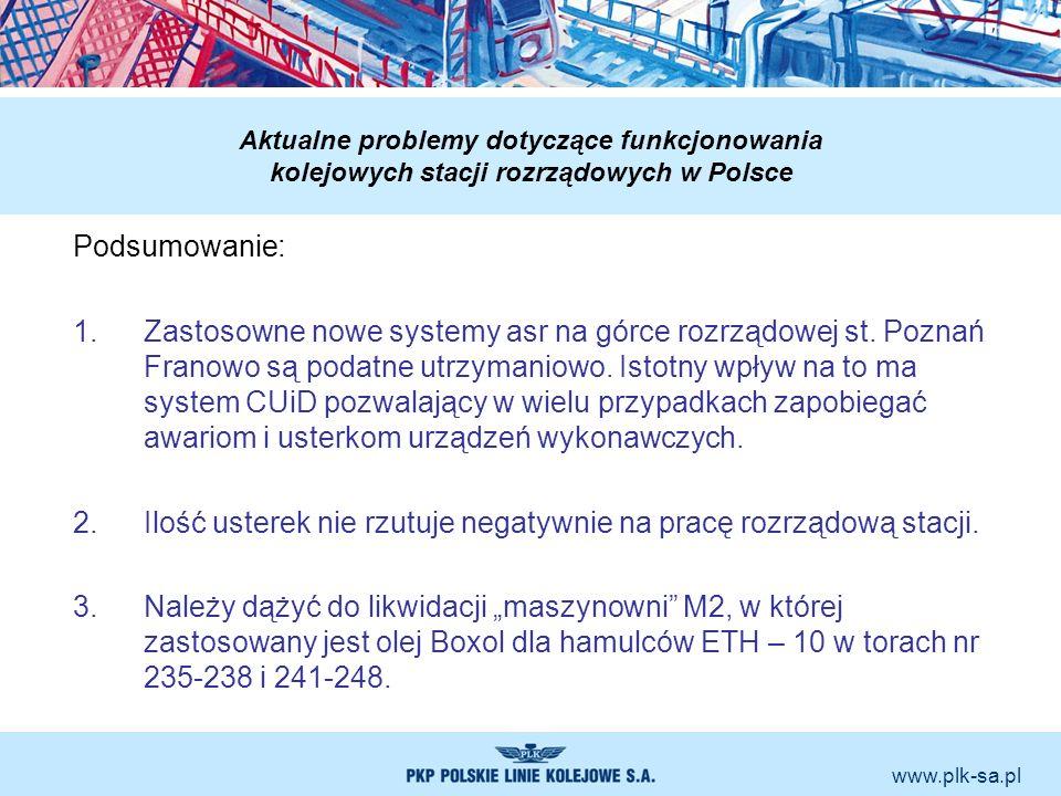 www.plk-sa.pl Aktualne problemy dotyczące funkcjonowania kolejowych stacji rozrządowych w Polsce Podsumowanie: 1.Zastosowne nowe systemy asr na górce
