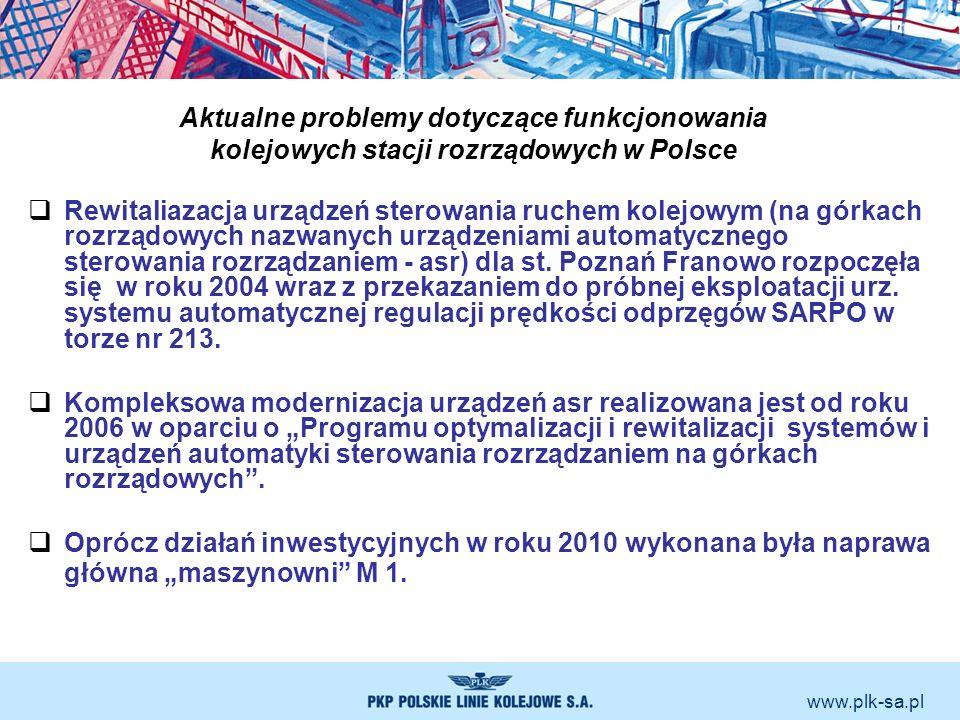 www.plk-sa.pl Aktualne problemy dotyczące funkcjonowania kolejowych stacji rozrządowych w Polsce Rewitaliazacja urządzeń sterowania ruchem kolejowym (