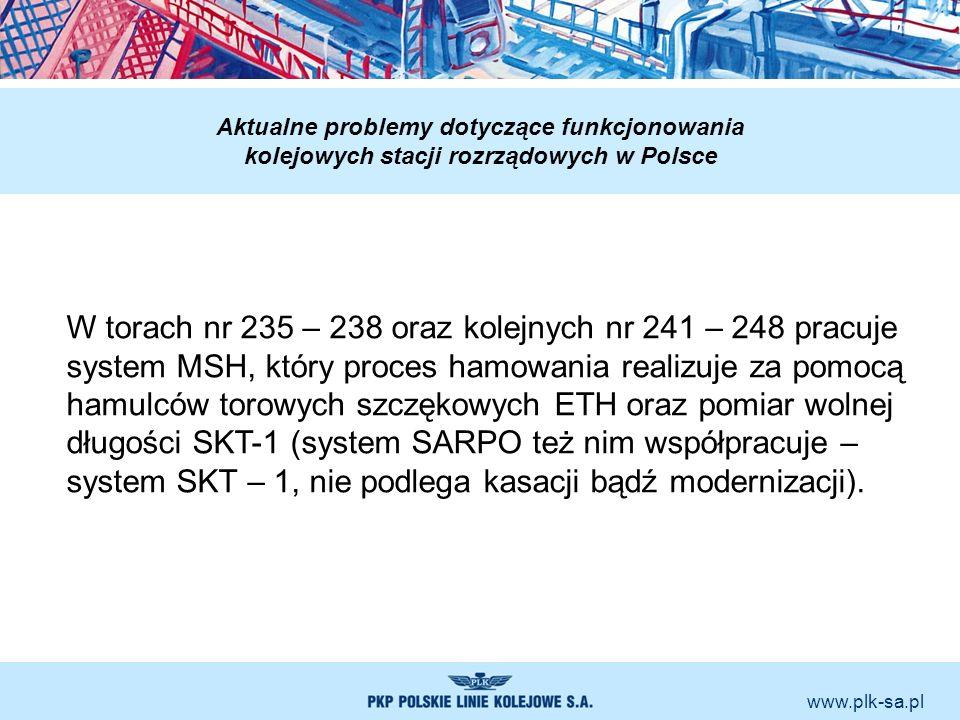 www.plk-sa.pl Aktualne problemy dotyczące funkcjonowania kolejowych stacji rozrządowych w Polsce W torach nr 235 – 238 oraz kolejnych nr 241 – 248 pra