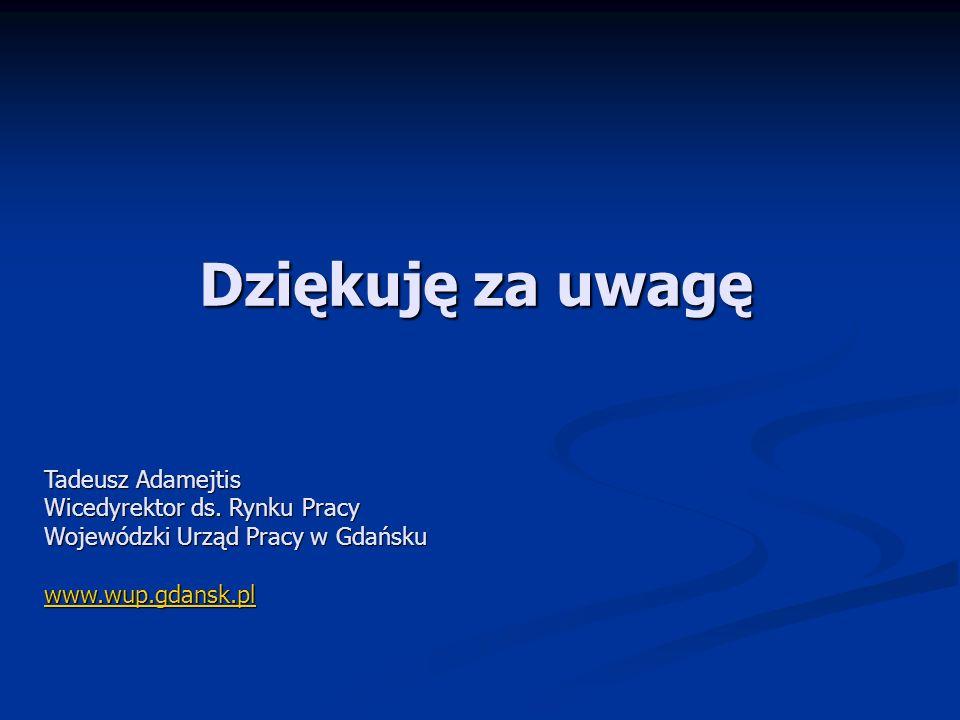 Dziękuję za uwagę Tadeusz Adamejtis Wicedyrektor ds. Rynku Pracy Wojewódzki Urząd Pracy w Gdańsku www.wup.gdansk.pl
