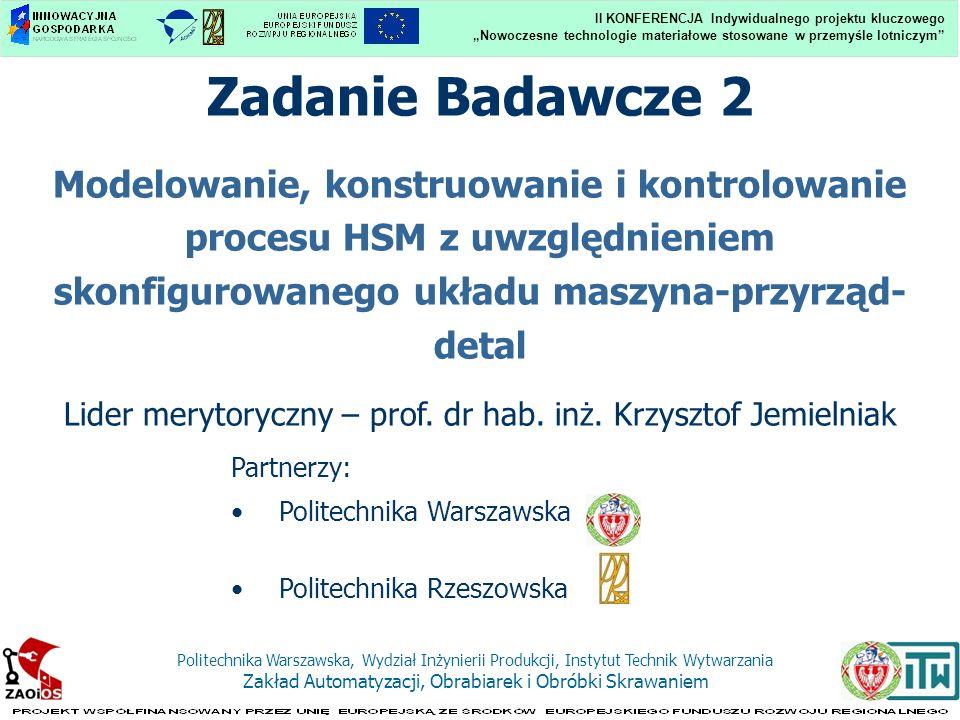Nowoczesne technologie materiałowe stosowane w przemyśle lotniczym II KONFERENCJA Indywidualnego projektu kluczowego Politechnika Warszawska, Wydział