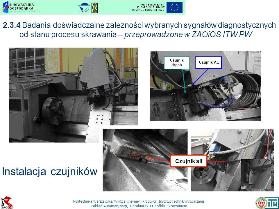 Politechnika Warszawska, Wydział Inżynierii Produkcji, Instytut Technik Wytwarzania Zakład Automatyzacji, Obrabiarek i Obróbki Skrawaniem Oprawka CRSNL 3225P12 MN7 Płytka RNGN 120700T01020 2.3.4 Badania doświadczalne zależności wybranych sygnałów diagnostycznych od stanu procesu skrawania – przeprowadzone w ZAOiOS ITW PW Plan operacji