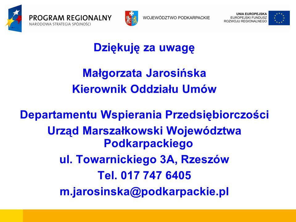 Dziękuję za uwagę Małgorzata Jarosińska Kierownik Oddziału Umów Departamentu Wspierania Przedsiębiorczości Urząd Marszałkowski Województwa Podkarpacki