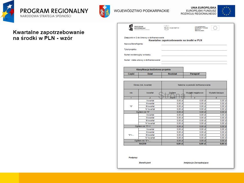 Kwartalne zapotrzebowanie na środki w PLN - wzór