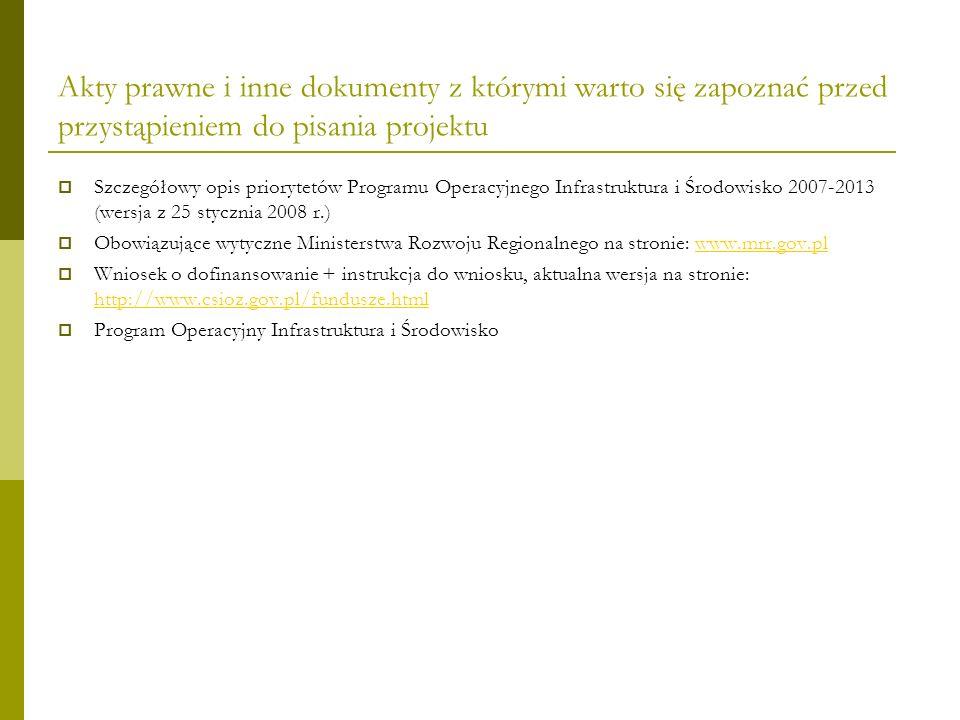 Akty prawne i inne dokumenty z którymi warto się zapoznać przed przystąpieniem do pisania projektu Szczegółowy opis priorytetów Programu Operacyjnego