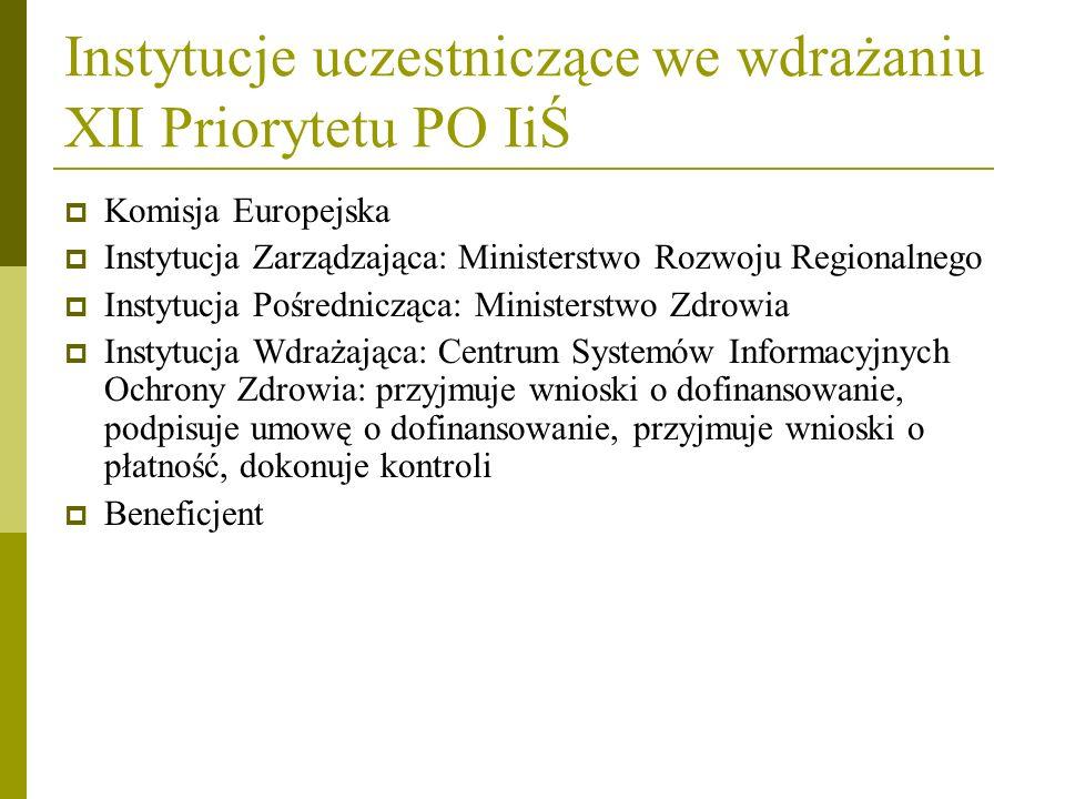 Instytucje uczestniczące we wdrażaniu XII Priorytetu PO IiŚ Komisja Europejska Instytucja Zarządzająca: Ministerstwo Rozwoju Regionalnego Instytucja P