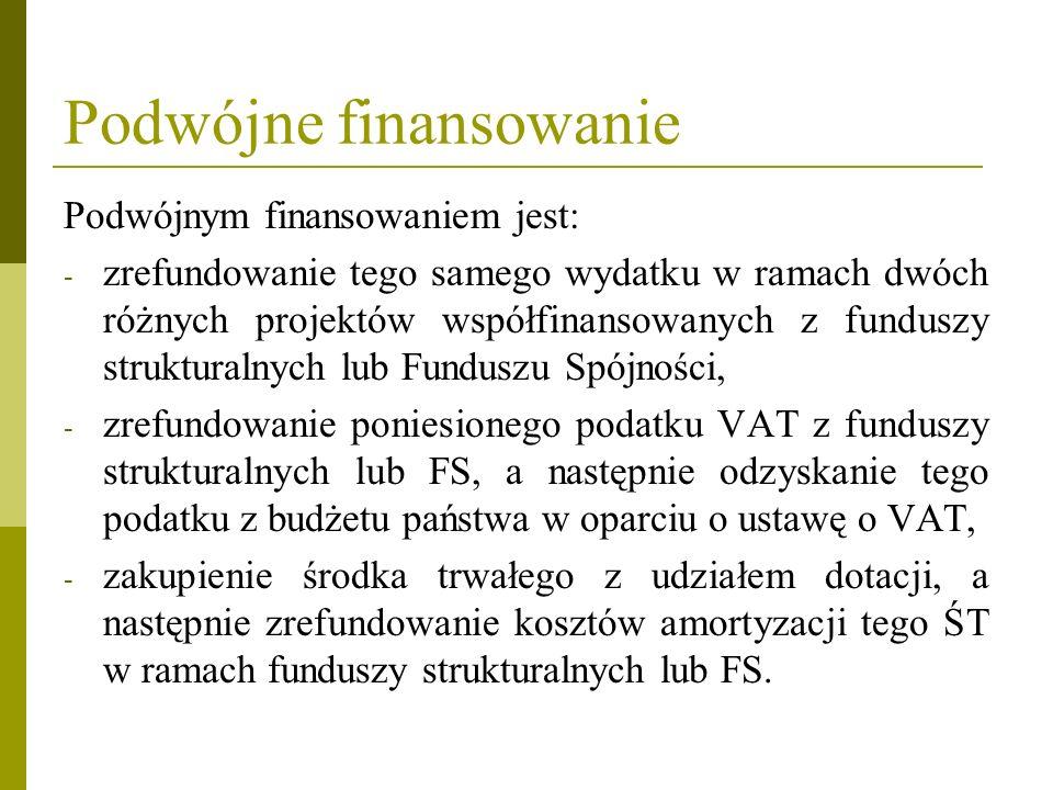 Podwójne finansowanie Podwójnym finansowaniem jest: - zrefundowanie tego samego wydatku w ramach dwóch różnych projektów współfinansowanych z funduszy