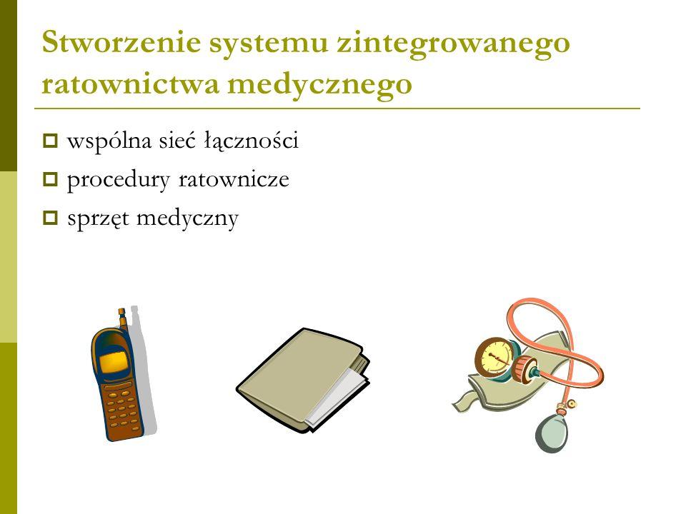 Stworzenie systemu zintegrowanego ratownictwa medycznego wspólna sieć łączności procedury ratownicze sprzęt medyczny