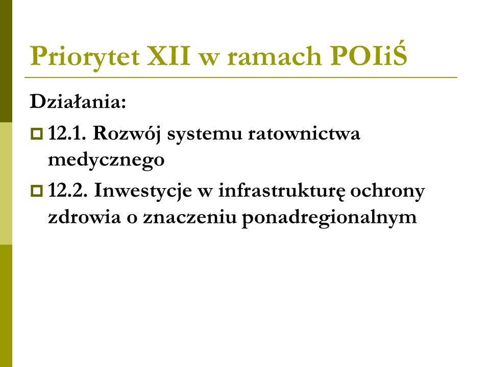 Priorytet XII w ramach POIiŚ Działania: 12.1. Rozwój systemu ratownictwa medycznego 12.2. Inwestycje w infrastrukturę ochrony zdrowia o znaczeniu pona